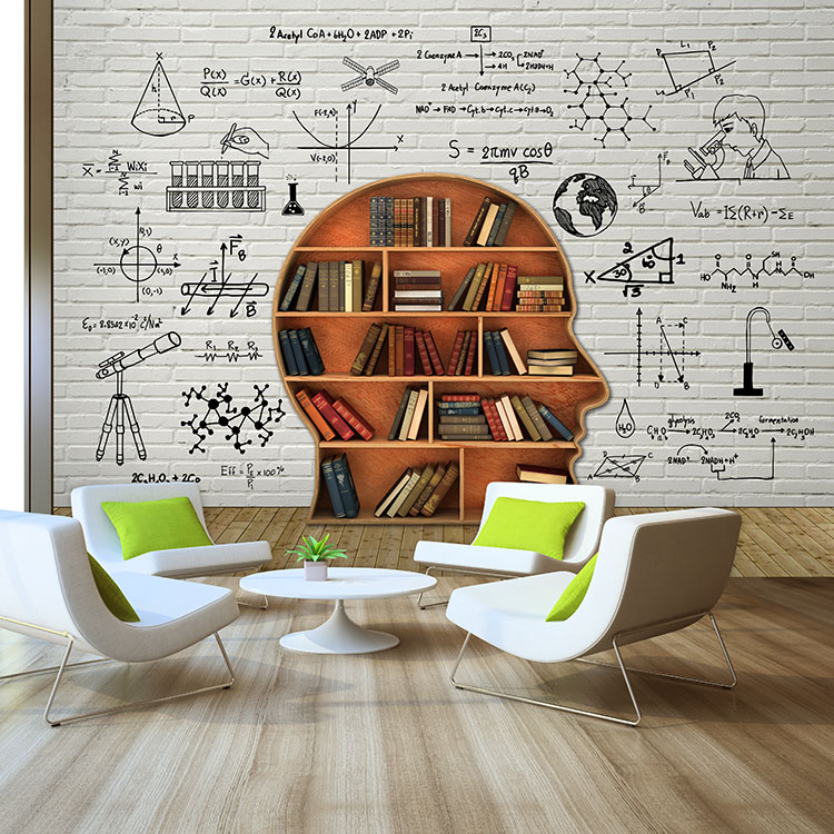 New 8D Math Function Bookshelf Large Mural 3d Bricks Wallpaper 3D Wall Photo Paper For Bedroom Wallcoverings