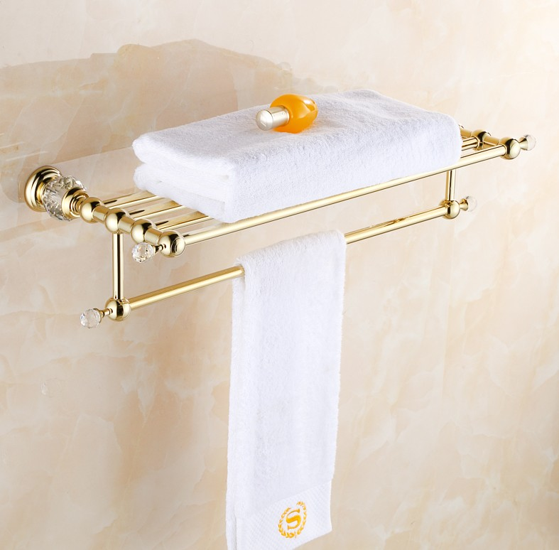 Solid Copper Luxury Crystal Gold Plating Design Towel Rack, Modern Bathroom Accessories Towel Bars Shelf ,Bronze  Towel Holder new arrival bathroom towel rack luxury antique copper towel bars contemporary stainless steel bathroom accessories 60cm k301