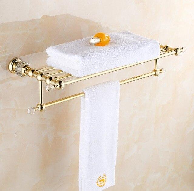 solid copper luxury crystal gold plating design towel rack modern bathroom accessories towel bars shelf - Bathroom Accessories Towel Bars