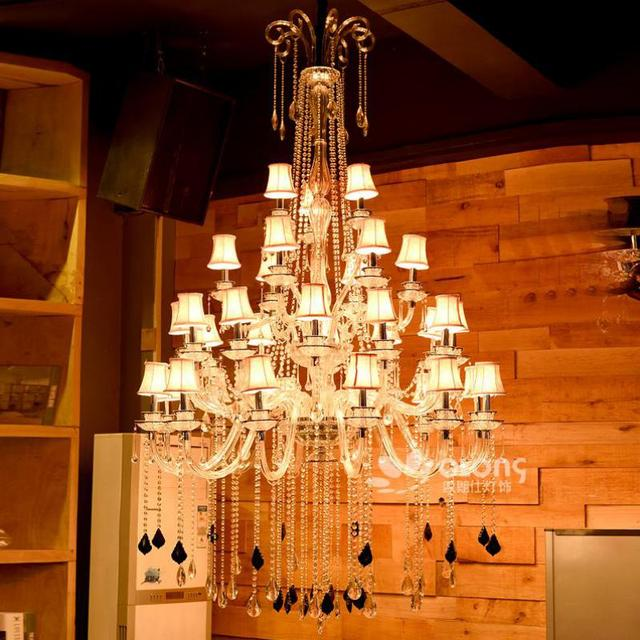 Church Led black Crystal pendant Chandelier Pendientes 33 pcs E14 Led Modern holiday lighting shopping Mall Hall Chandelier lamp