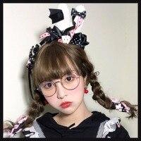 Gothic Japanese Lolita Princess Strawberry Rabbit Ears KC Headwear Cosplay Red&Black AP Hair Accessories Playing Cards Headband