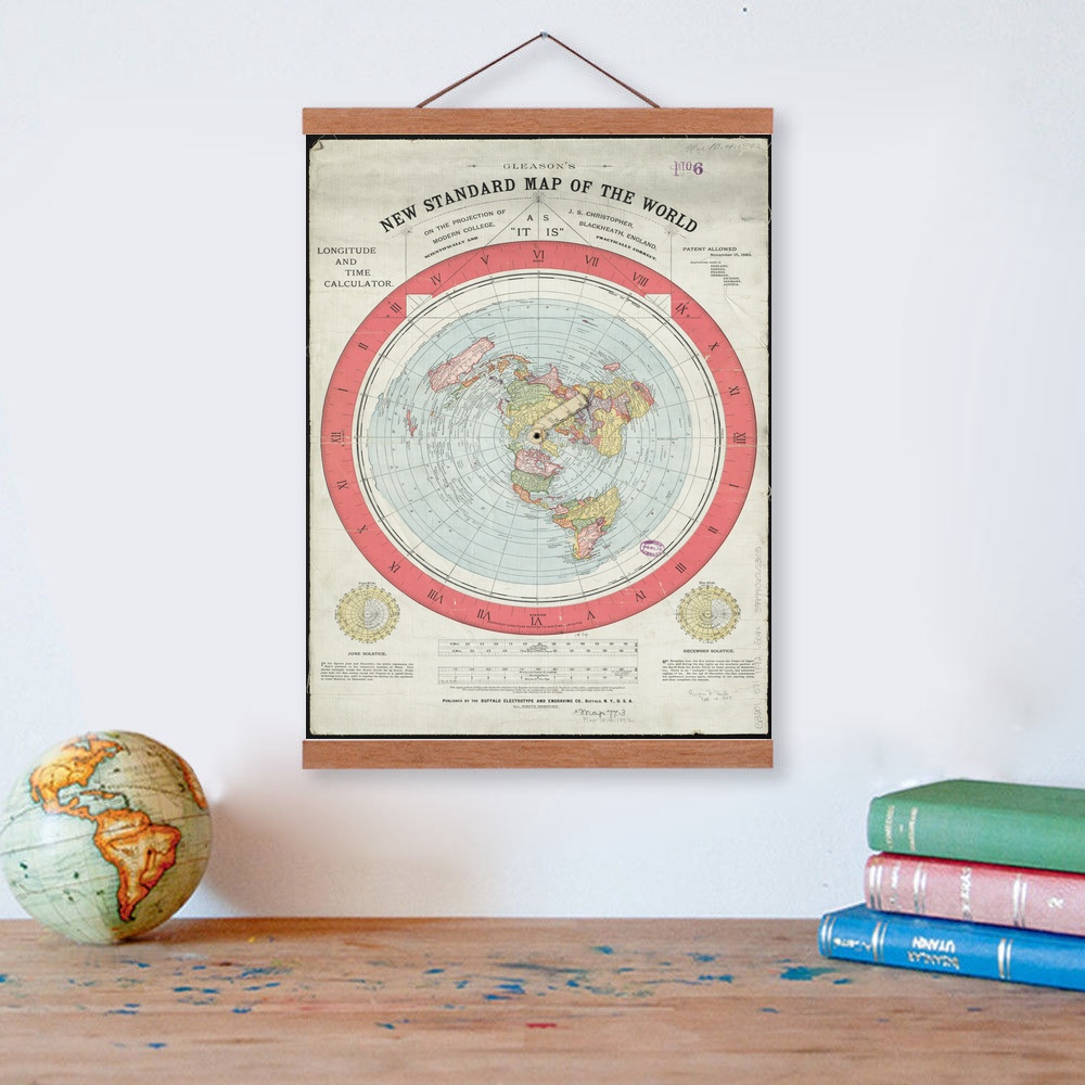 1892 Flat Earth Map Wooden Framed Canvas Painting Home Decor Wall Art Print Pictures Poster Hanger Полка