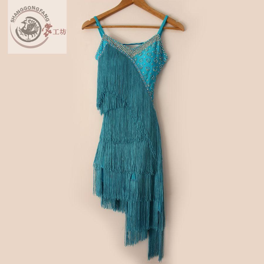 Uus stiilis latin tantsu kostüüm seksikas tassel ladina tantsukonkursi kleit naistele latin tantsukleitidele S-4XL F21