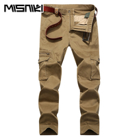 MISNIKI Spring Autumn Hot Cotton Casual Pants Men Slim Fit Multi Pocket Trousers Men