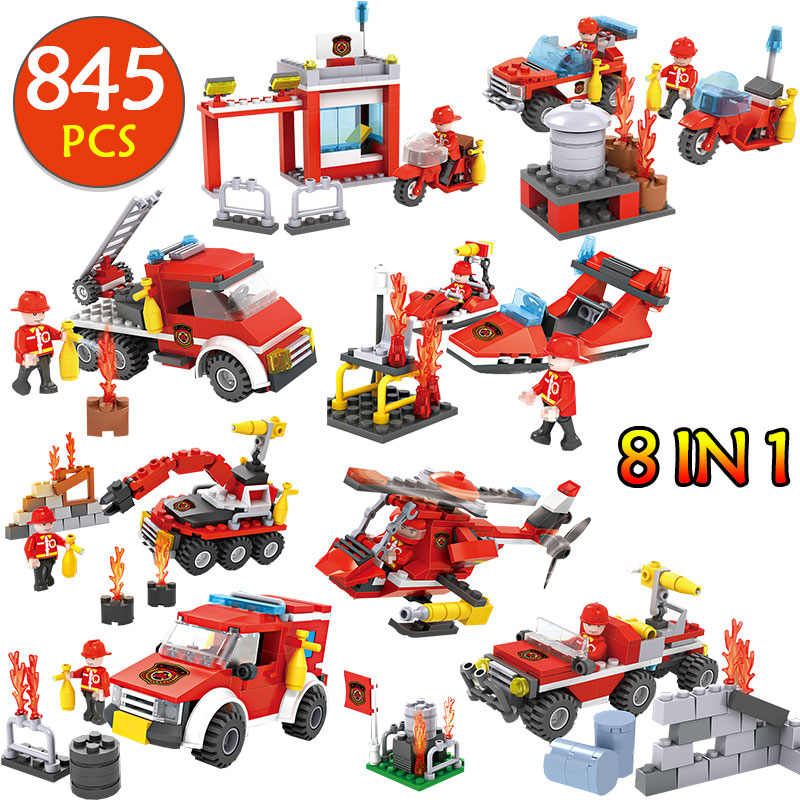 Fire Station 845Pcs Building Blocks Compatible Legoingly Fire truck firefighters fire building Brick Set stitching children toy