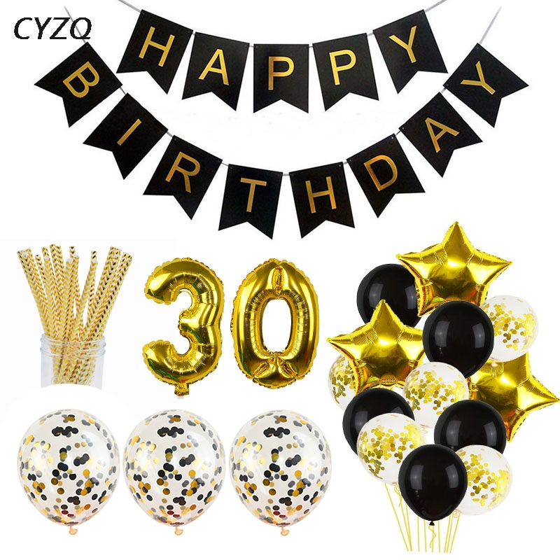 1Set 30 40 50 60 Happy Birthday Party Decorations Adult Customized Birthday Party Supplies Gold Black Anniversary Decor