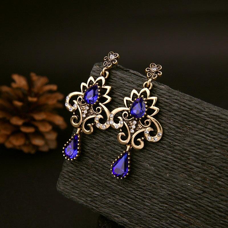 Bohemia Antique Flower Drop Earrings Women Carved Stone Fashion Water Pendants Dangle Earring Jewelry