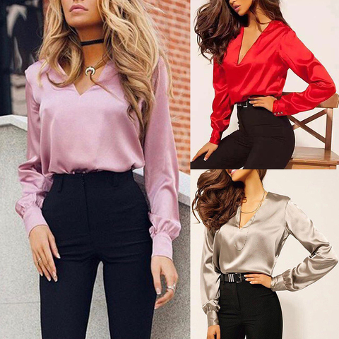 Women Fashion Blouse Long Sleeve Satin Blouse Vintage V Neck Street Shirts Elegant Top Solid Ladies Red Pink Business Shirts Hot Lahore
