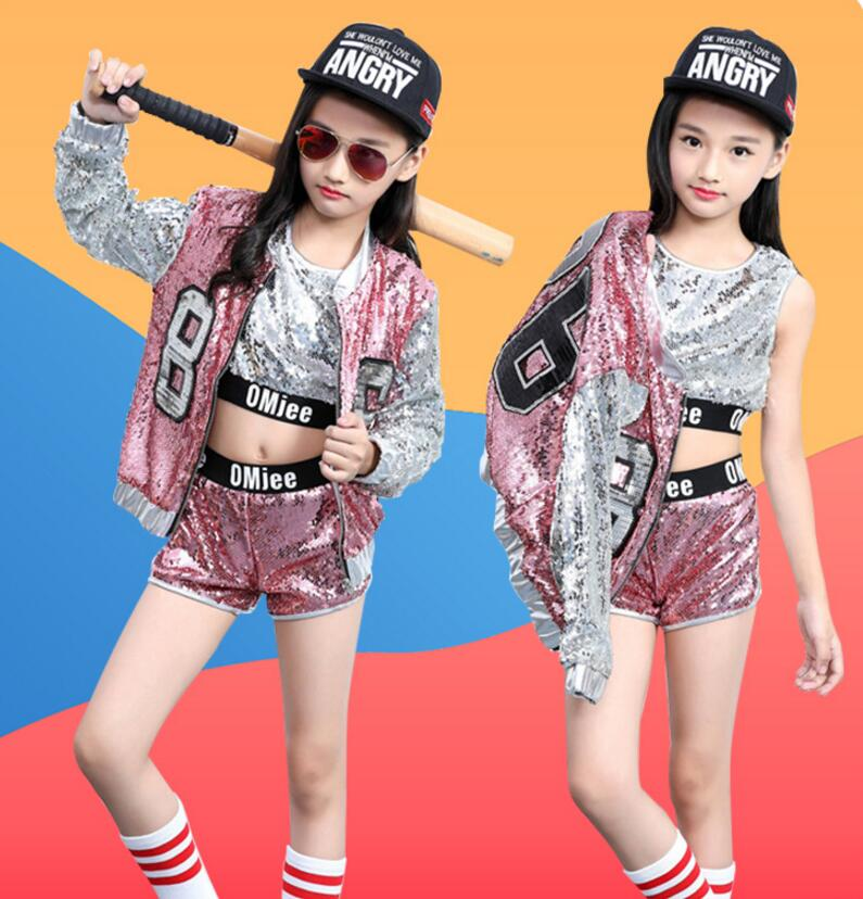 Kids Sequin Hip Hop Clothing Clothes For Girls Jacket Crop Tank Tops Shirt Shorts Jazz Dance Costume Ballroom Dancing Streetwear