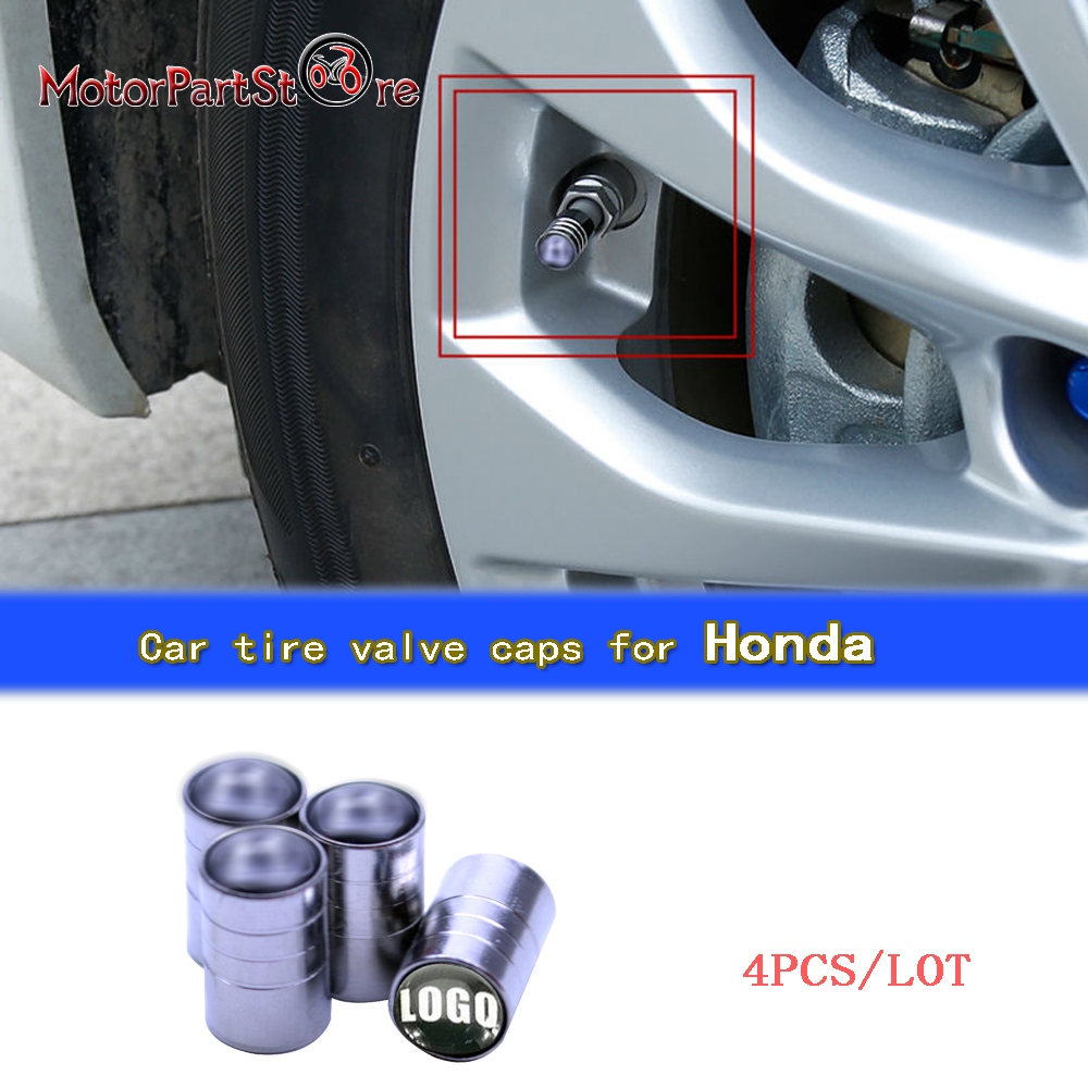 4Pcs/Lot Universal Aluminum Car Tyre Air Valve Caps Bicycle Tire Valve Cap Car Wheel Cover Styling Round For Honda D10