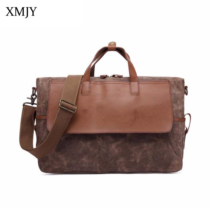 XMJY Oil Wax Canvas Handbags Men Large Capacity Waterproof Travel Bag Vintage Laptop Computer Bag Messenger Shoulder Casual Tote mybrandoriginal travel totes wax canvas men travel bag men s large capacity travel bags vintage tote weekend travel bag b102