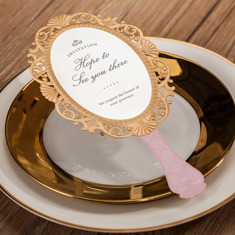 Magic Mirror Shaped Wedding Invitations Customized Pink Cards 50 Pcs A Set Whole European Fairy Tale In From
