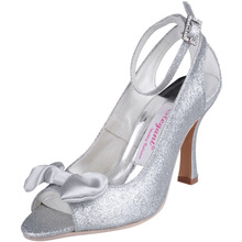 Sexy EL-040 Silver Peep Toe Bow Cutouts Ankle Strap Spool High Heels 3.5inch Sandals Glitter Woman Fashion Prom Shoes