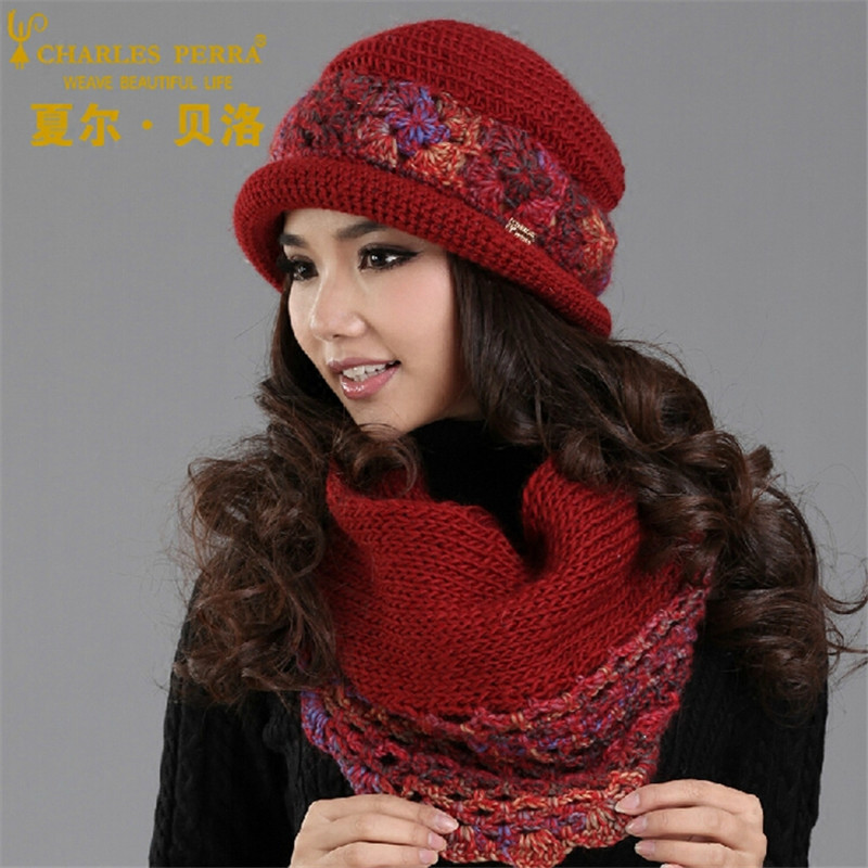 Charles Perra Women Hat Scarf Sets Winter Thicken Wool Knitted Hats Casual Fashion Handmade Woven Woolen Beanies Caps SCD5
