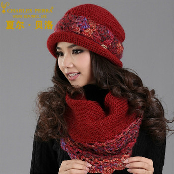 Charles Perra Women Hat Scarf Sets Winter Thicken Wool Knitted Hats Casual Fashion Handmade Woven Woolen Beanies Caps SCD5 charles perra women winter hats scarves gloves three piece sets thicken velvet liner casual elegant lady knitted hat 8906