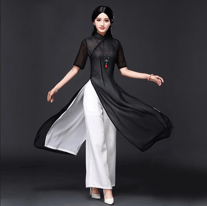 Traditional Vietnam Ao Dai Cheongsam Summer Oriental Dress Chinese Qipao Dress And Pants