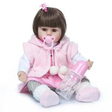 48cm New Bebe Reborn Silicone Reborn Baby Dolls Silicone Baby Dolls Reborn Kids Birthday Christmas Gift Brinquedos Juguetes npkcollection reborn baby alive lovely premie bebe new born dolls realistic baby playing toys for kids birthday christmas gift