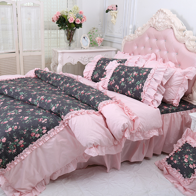 Elegant Dreaming 100% COTTON European Floral Bedding Cotton Four Piece KING  Princess Pink Ruffles Bedsheets Blue