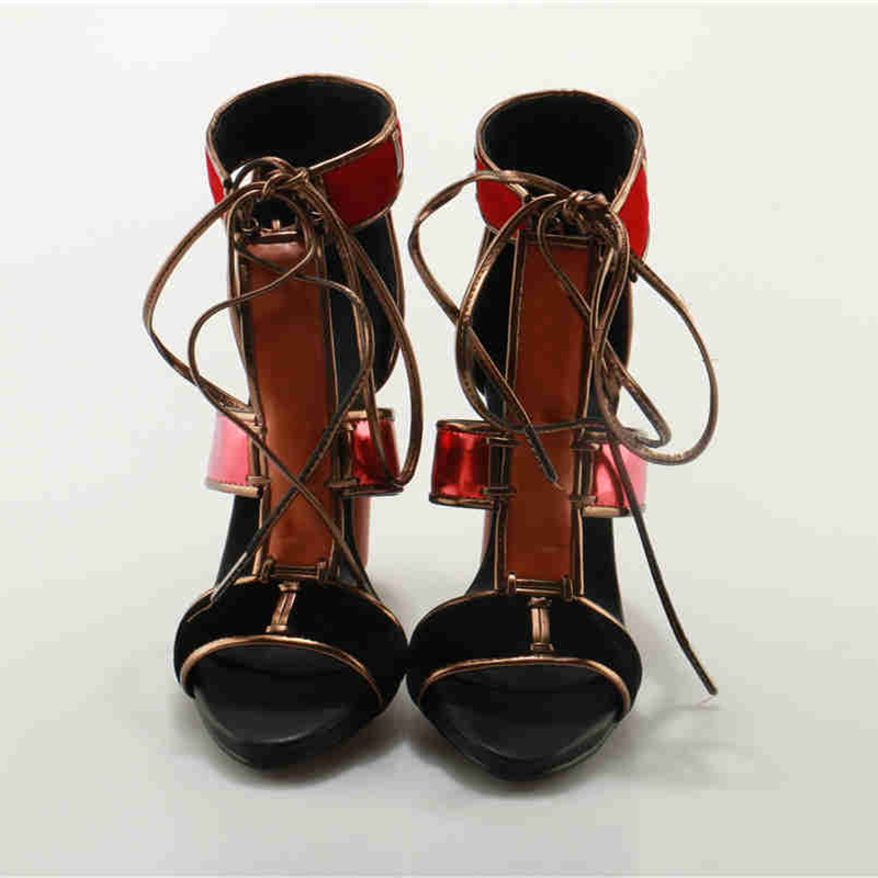 2017 Summer Women Gladiator Shoes Sapato Feminino Spilt Leather Ankle Strap Mixed Colors Lace Up Extreme High Heels Lady Sandals summer women shoes casual cutouts lace canvas shoes hollow floral breathable platform flat shoe sapato feminino lace sandals