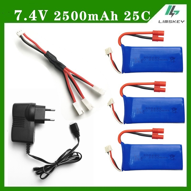 Syma X8G 7.4v 2500MAH parts charger battery Syma X8HC X8HW X8HG RC Quadcopter parts Charger+1 to 3 wire+ 3*battery EU/US Plug