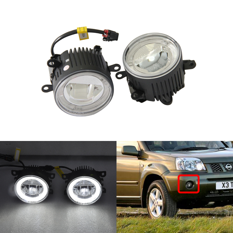 Fit Nissan X-Trail NAVARA CABSTAR ELGRAND SAFARY FRONTIER Led Fog Lamp Assembly Kits W/Guide Angel Eyes DRL Halo Rings Kits direct fit for benz sprinter 208 515 06 08 front led fog lights w guide angel eyes drl halo rings car styling car parts lamp