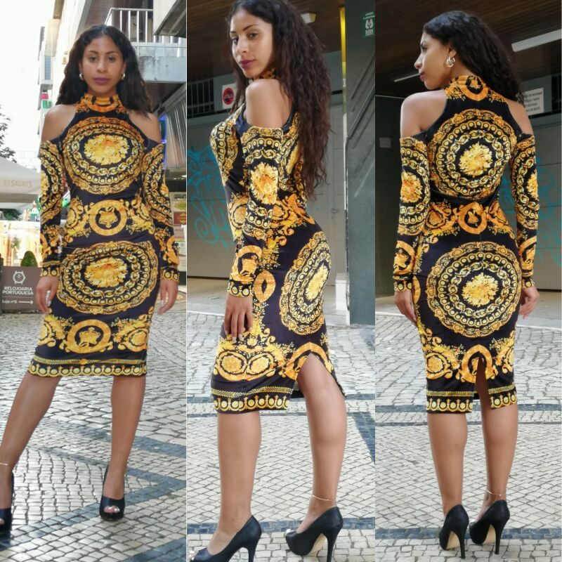2019  Fashion Print Elastic Sleeve Loose Style Dashiki Stripe Long Dresses For Lady/women