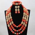 Orange cuentas de coral sistemas de la joyería de muchos colores de moda nupcial de la boda africana/mujeres collar de perlas de set envío libre cj868