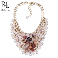 DiLiCa Handmade Natural Stone Necklace for Women Shell Beads Statement Necklaces Chokers Woman Maxi Necklace Collier