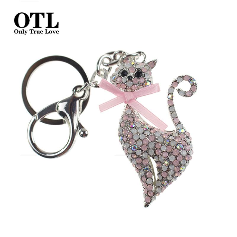 Crystal Rhinestone Key Ring Metal Cat Keychain Souvenir Gifts Couple Key Chain Novelty Hangbag Charms Pendant Portachiavi