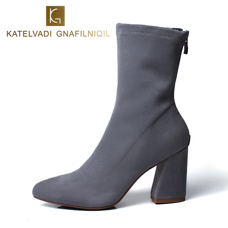 купить Sexy Ankle Boots For Women Gray Stretch Fabric Pointed Toe High Boots Women Shoes Thick Heel Fashion Winter Autumn Boots K-164 по цене 2241.2 рублей