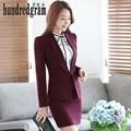 Cuello de chal oficina de negocios formal trajes de falda roja para las mujeres estilo de la moda femenina de Ropa de Trabajo ropa de carrera OL de dos piezas conjunto
