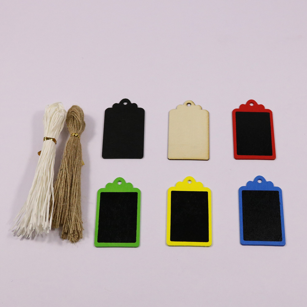 50pcs Mini Black Gift Tag Wood Tag Blackboard Square Shape Blank Hang Black Tag Luggage Label with String Gift Wrapping Supplies