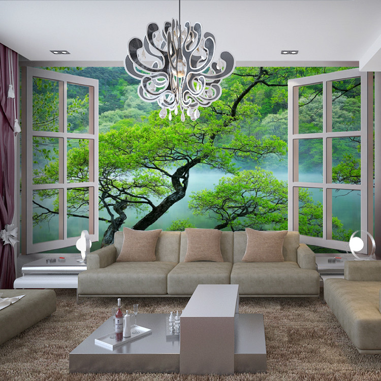 fake background window living hotel bedroom tree wall landscape parlor 3d extension sofa zoom wallpapers mural
