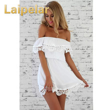 Laipelar New Women Elegant Vintage Off Shoulder Sweet Lace Clothes Sexy Slash Neck Dress