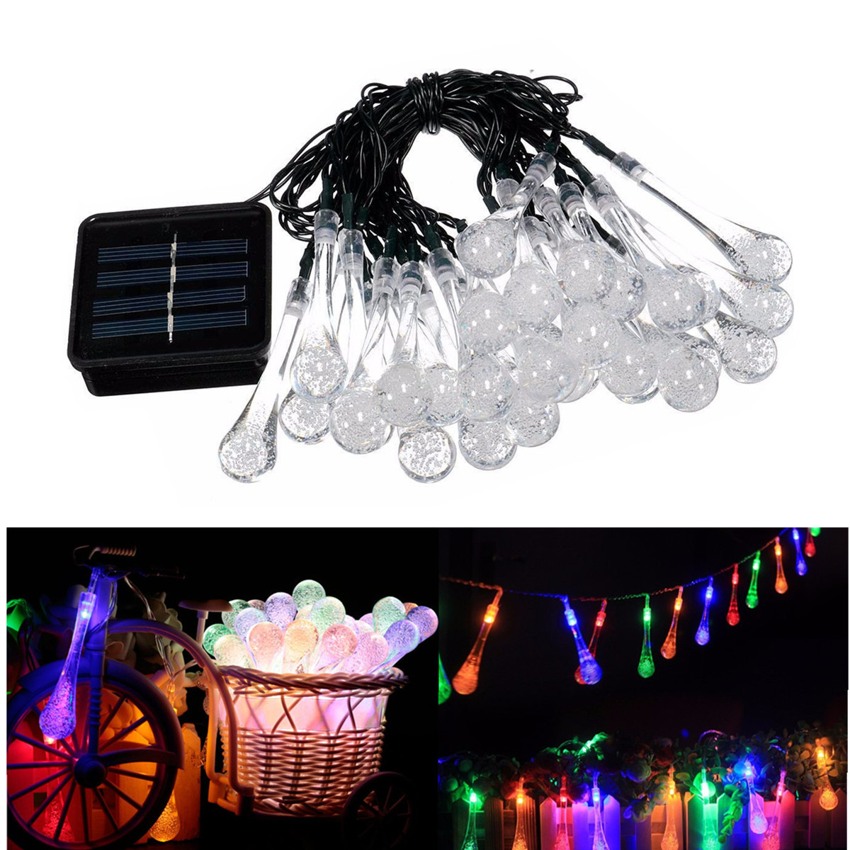 6.5M 30 LED Solar Powered Fairy String Lights Water Drop Decorative Garden Lawn Patio Christmas Waterproof Outdoor Solar Lamps