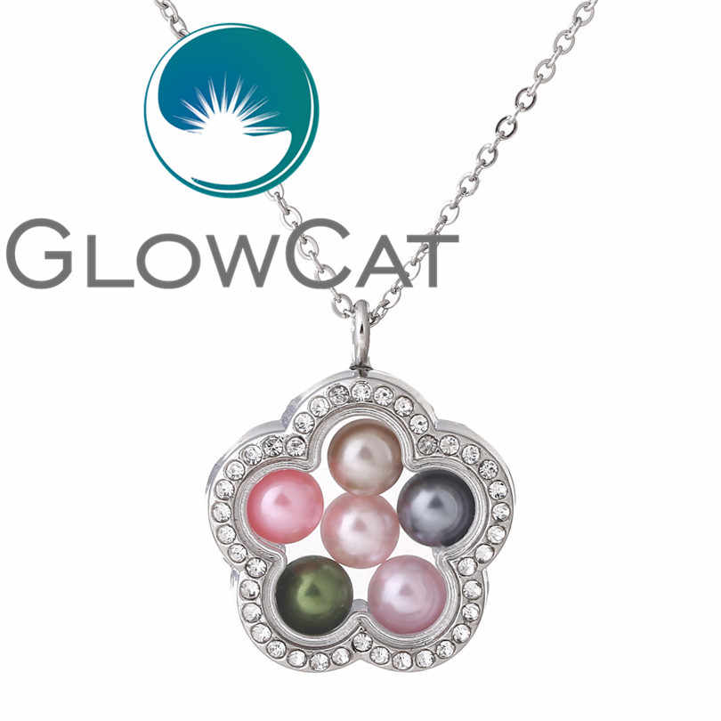 Flower Magnetic Living Memory 8mm Beads Locket Pearl Cage Floating Pendant With Rhinestone GlassNecklace