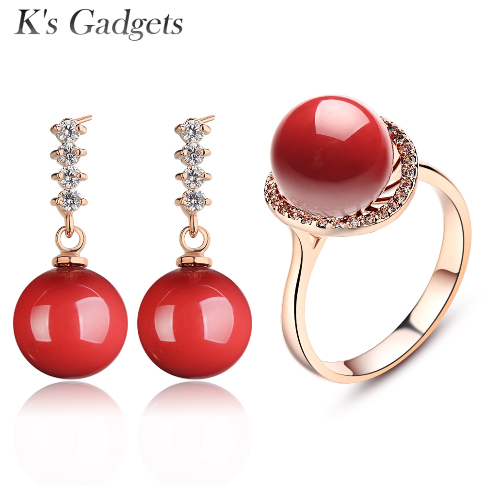 K's Gadgets Wedding Jewellery Set Red Simulated Coral Rose Gold Color Crystal Rhinestone Earrings Ring Jewerly Sets For Women