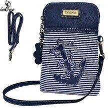 INONE Canvas Striped Anchor Shoulder Bags for Women 2019 Crossbody Cell Phone Unique Own Design Handbag Travel Purse Letter Bag
