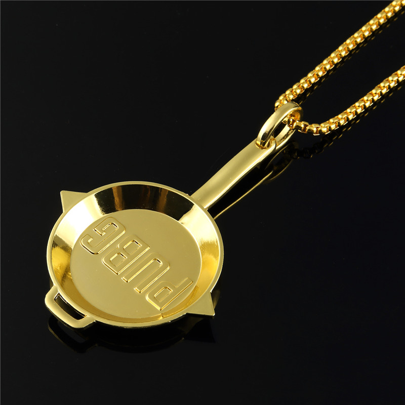 Fashion PUBG Game Weapon Pans Golden Chains Men Women Hip Hop Bling Jewelry Necklaces Cosplay Costumes Chokers Pendants