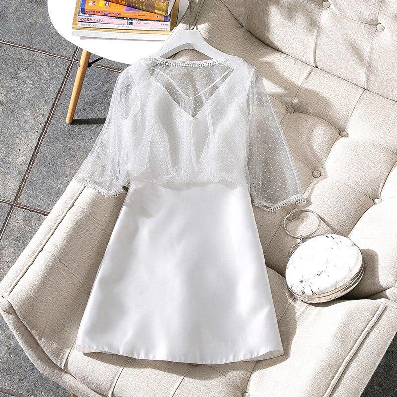 цены New 2018 spring summer fashion women sexy dot mesh patchwork satin dress a-line cute dresses pure color white black blue