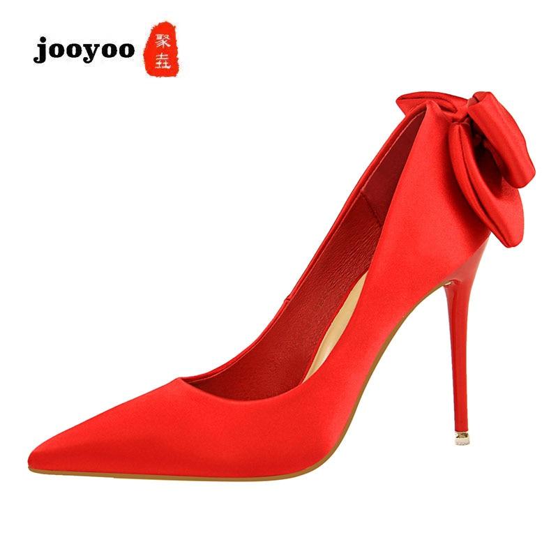 227e34a09 Cetim De prata Sapatos Salto Verão Preto Das Bombas Alto A Fino vermelho  Vinho Primavera verde rosa vermelho Arco Jooyoo Mulheres azul Doce Moda ...