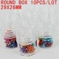 Envío gratis 29x26mm botella redonda pequeña caja de herramientas caja de almacenamiento de 10 unids/lote perfecto para herramienta de pesca medicina belleza uso de almacenamiento