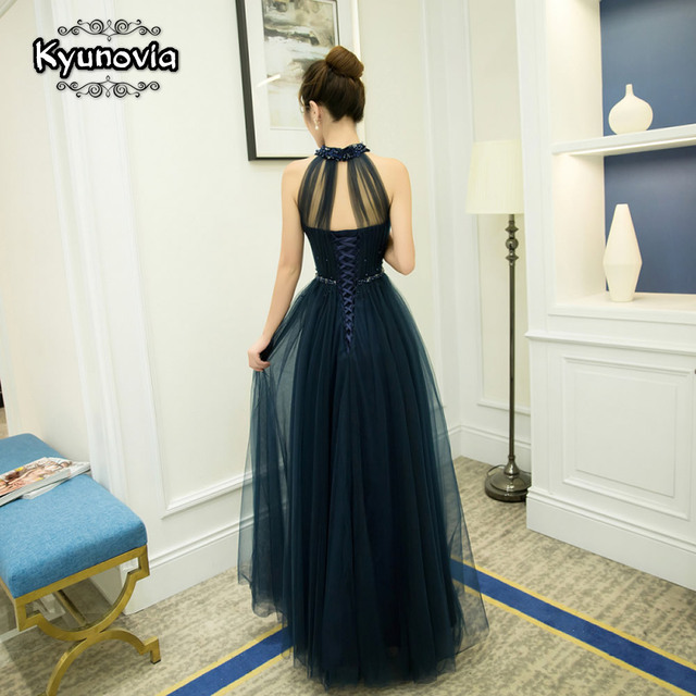 Floor Length Halter Dress Beaded Long Prom Dress Blue Champagne Sleeveless Evening Dress Appliques Lace Up Prom Dresses FD28 3