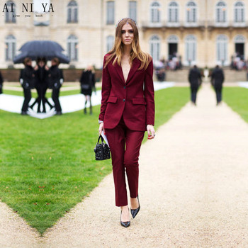 Women Pant Suits Slim Fit Wine Red Women Tuxedos Peaked Lapel Suits Office Business Work Suit Female Trouser Suits Custom Made