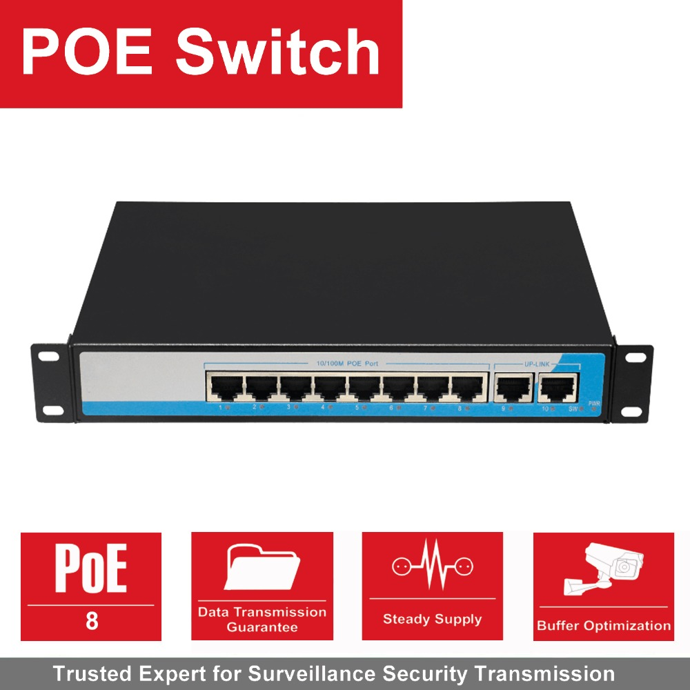 8 Port 100Mbps IEEE802 3af POE Switch Injector Power over Ethernet Network Switch for IP Camera