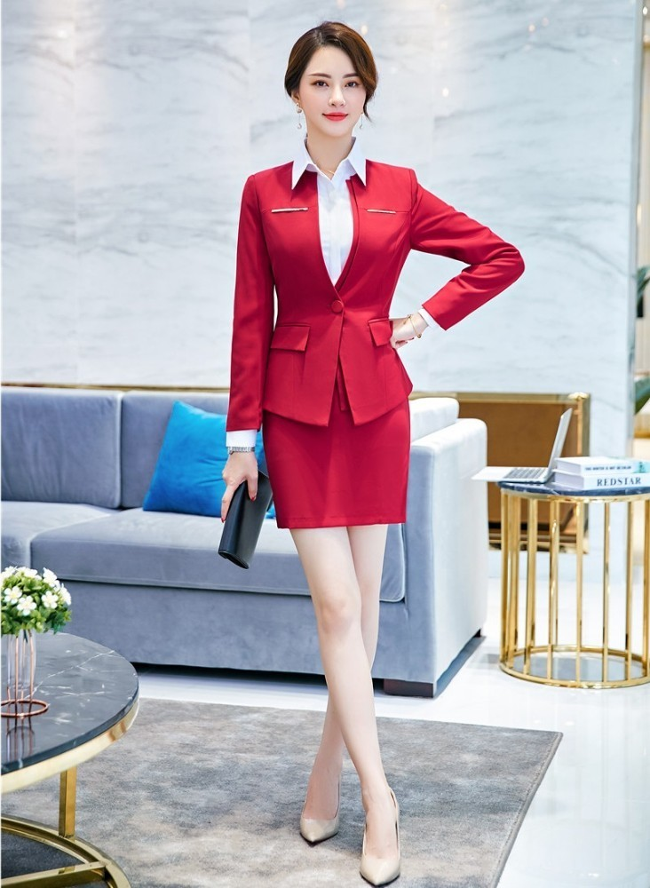 Formal Women Business Suits With Blazer And Skirt Elegant Red OL Styles Professional Ladies Office Work Wear Blazers Sets