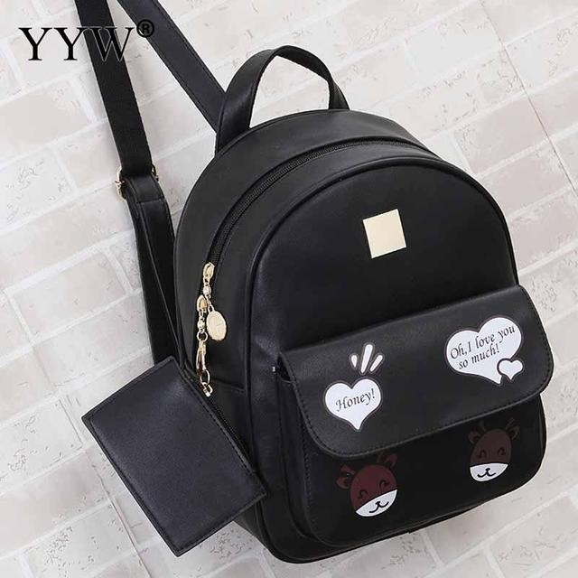 806538098c7b Cartton Pattern Black PU Leather Backpack Female Small Backpacks for  Adolescent Girls Pink Mini Travel School Bag with Purse