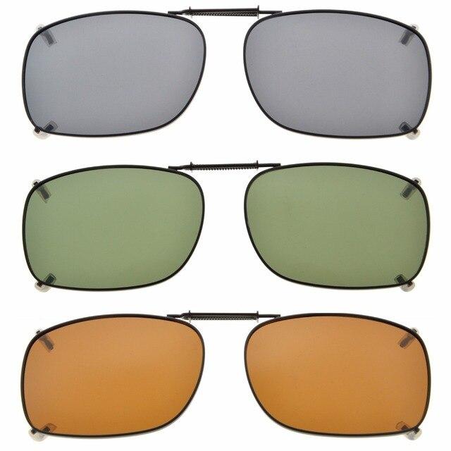 C75 Eyekepper Grey/Brown/G15 Lens 3 pack Clip on Polarized Sunglasses 51x36MM