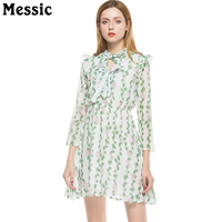 Messic Small Floral Printed Vintage Robe Femme Chiffon Dress 2018 Summer New Wrist Sleeve V Neck