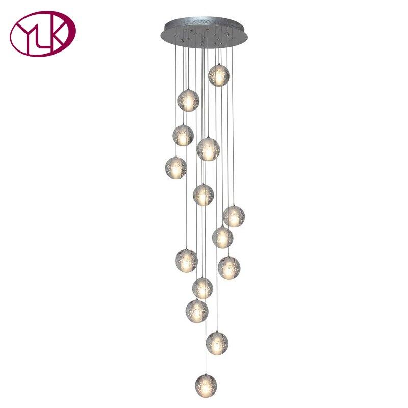 Youlaike De Luxe Moderne Lustre Éclairage Grand Escalier LED Luminaires En Cristal Poli En Acier Suspendus Lustre Cristal